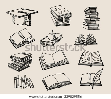 vector hand drawn Books stack sketch doodle - stock vector