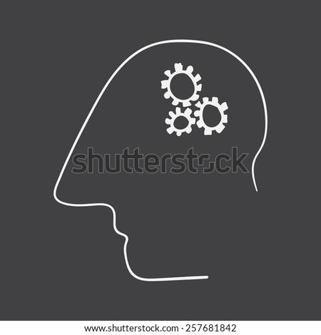 vector hand drawn brain training on a black background - stock vector