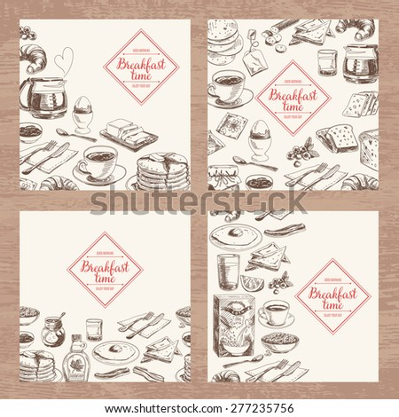 Vector hand drawn breakfast and branch background set. Menu illustration. - stock vector