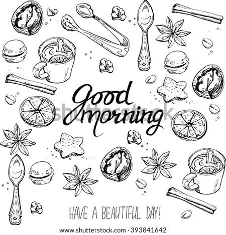 Vector hand drawn breakfast and branch background set. Menu illustration - stock vector