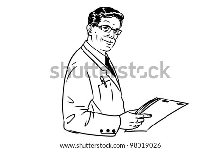 Vector hand drawn business man full of confidence. - stock vector
