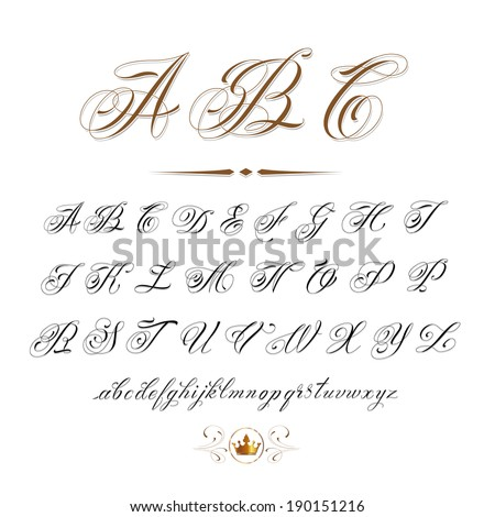 vector hand drawn calligraphic Alphabet based on calligraphy masters of the 18th century and tattoo artists of 20th century. Very often used in tattoo sketches - stock vector