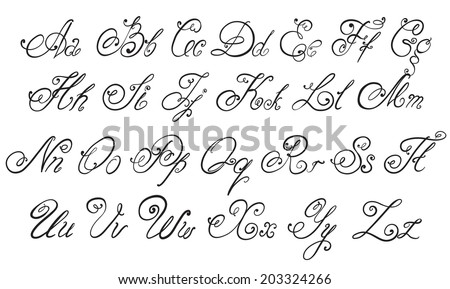 Vector hand drawn calligraphic Alphabet. Hand drawn letters. - stock vector