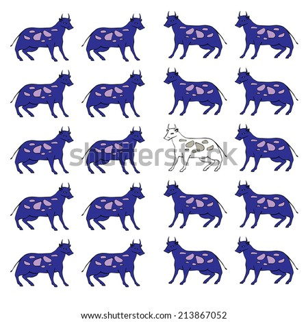 Vector hand drawn cartoon blue cows - stock vector