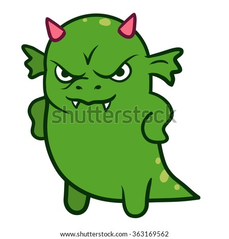 Vector hand drawn cartoon character illustration of a funny fat grumpy green dragon monster with pink horns, looking forward with an angry displeased scowl, standing with arms on hips, front view