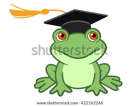 Vector hand drawn cartoon illustration of a happy smiling frog wearing a black graduate mortarboard cap with a tassel isolated on white. Graduation concept for preschool, kindergarten and school. - stock vector