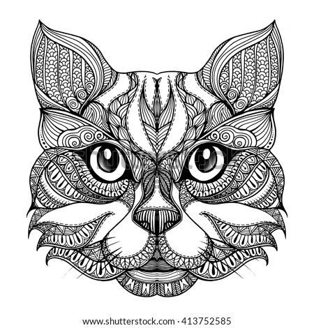 Vector Hand Drawn Cat Face Ethnic Stock Vector 413752585
