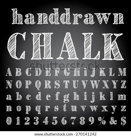 vector hand drawn chalk alphabet - stock vector