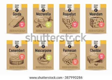 Vector hand drawn cheese posters set .Sketch vintage cards. Milk products.Dairy vintage illustrations. - stock vector