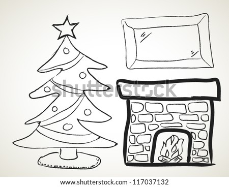Vector hand drawn christmas Tree and fireplace - stock vector