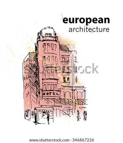 Vector hand drawn city sketch. Prague architecture. Ink drawing. Ancient European building. Good for poster, placard, advertising, any graphic design, book illustration. - stock vector