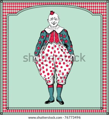 vector hand drawn clown - stock vector