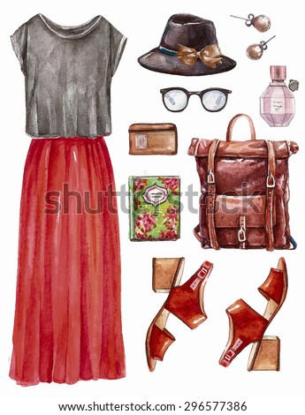 Vector hand drawn collage of summer,spring ore autumn girl clothing and accessories isolated on white background. Outfit of casual boohoo woman style. Create by watercolor  - stock vector