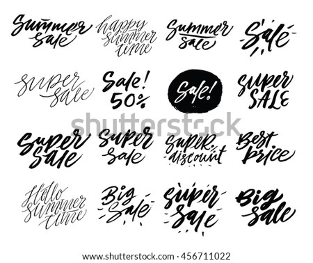 "Vector hand drawn collection of labels and logos. Discount card set of ""Super Sale"", ""Big Sale"", ""Summer Sale"", Sale 50%"". - stock vector"