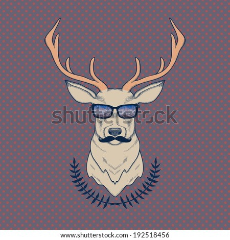 Vector hand drawn colorful illustration of hipster deer with mustaches and glasses