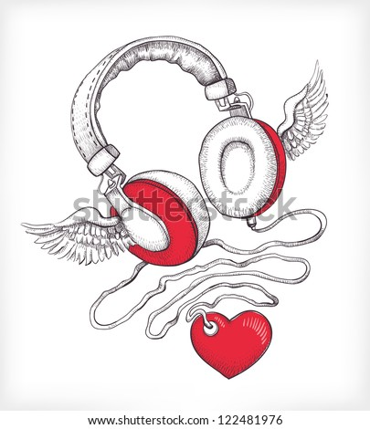Vector hand drawn concept illustration. Headphones with wings and heart - stock vector