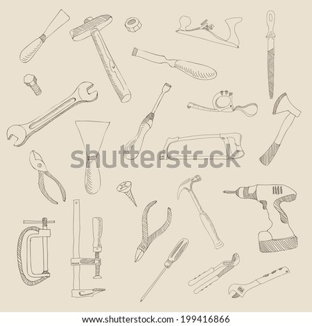 vector hand drawn construction tool collection - stock vector