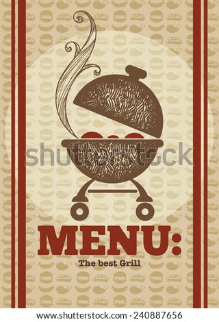 vector hand drawn cover for your BBQ and grill menu - stock vector