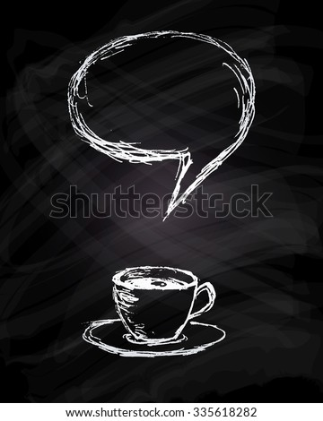 Vector hand drawn creative menu design. A cup of coffee or tea with empty speech bubble as chalk drawing on blackboard. Restaurant and cafe creative presentation. Creative hipster advertising. - stock vector