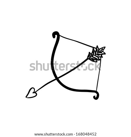 Vector hand drawn cupid bow. Black sketch on white background.   - stock vector