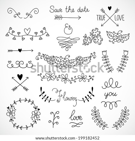 Vector hand drawn design elements: lines, curves, flowers, arrows, hearts - stock vector