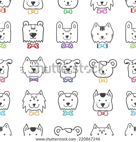 Vector hand drawn doodle cartoon animal heads seamless pattern in colorful bow-ties - stock vector