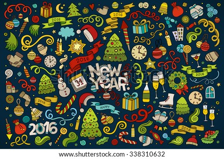 Vector hand drawn Doodle cartoon set of objects and symbols on the New Year theme - stock vector