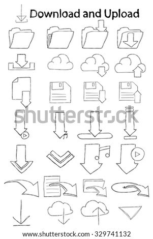 Vector, hand drawn, doodle download icon set. - stock vector