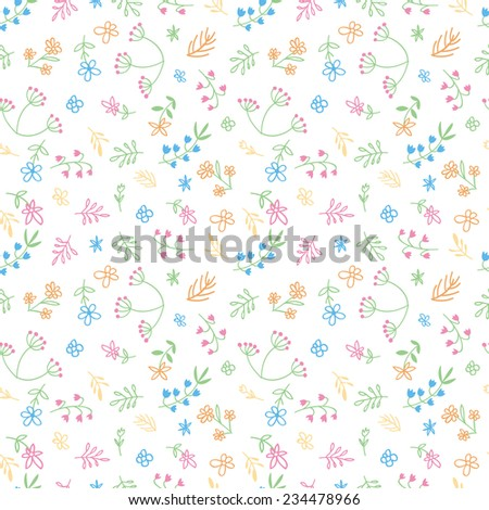 Vector hand drawn doodle flower field seamless pattern - stock vector
