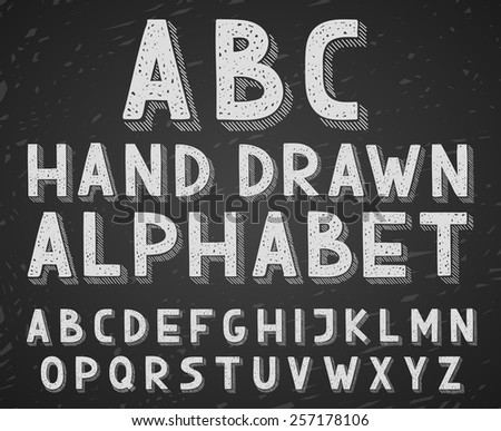 Vector hand drawn doodle sketch alphabet letters written with a chalk on blackboard or chalkboard. - stock vector