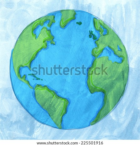 Vector hand drawn earth - stock vector