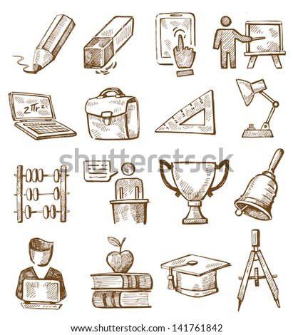 vector hand drawn education icons set on white - stock vector
