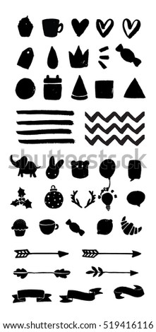 Vector hand drawn elements. Good for Merry Christmas, wedding invitations. birthday cards