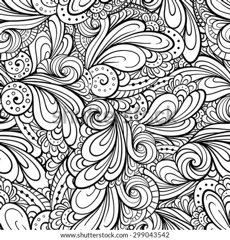 Vector hand drawn ethnic black and white seamless pattern. EPS 8. - stock vector