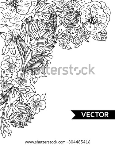 vector hand drawn  floral background - stock vector