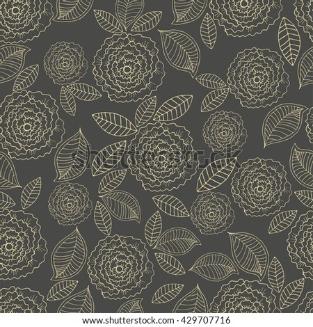 Vector hand drawn floral seamless pattern. Design for fabric, textile. Hand drawn colorful background with flower