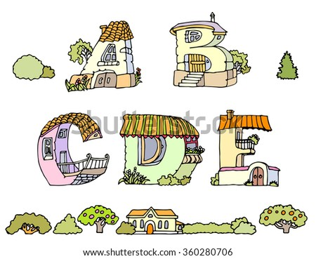 Vector Hand Drawn Fonts.The original English language alphabet.Set of ABCD uppercase alphabet letters.Hand drawn font,letters in houses shape.Handwriting Alphabets with set of trees, shrubs and houses
