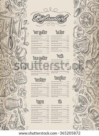 vector hand drawn food, drink sketch and restaurant, cafe, menu doodle - stock vector