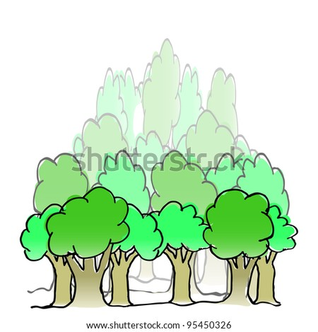 Vector hand drawn forest - stock vector