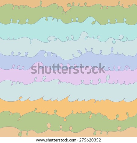Vector hand drawn free style sea wave background. Seamless pattern. - stock vector