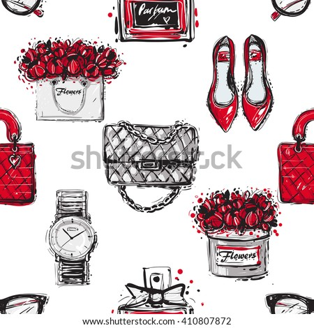 Vector hand drawn graphic fashion sketch shoes, fashionable clutch, handbag, wrist watch, french perfume flower box, vintage glasses, flowers bag. Trend glamour fashion seamless pattern in vogue style - stock vector