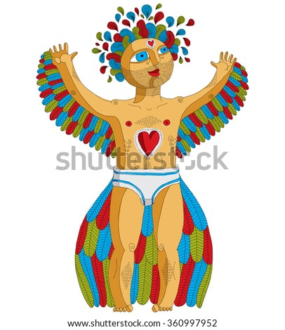Vector hand drawn graphic illustration of weird creature, cartoon nude man with wings, animal side of human being. Idol concept, artistic allegory drawing.  - stock vector