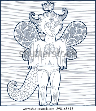 Vector hand drawn graphic lined illustration of weird creature, cartoon nude man with wings, animal side of human being. Prince or king artistic allegory drawing.  - stock vector