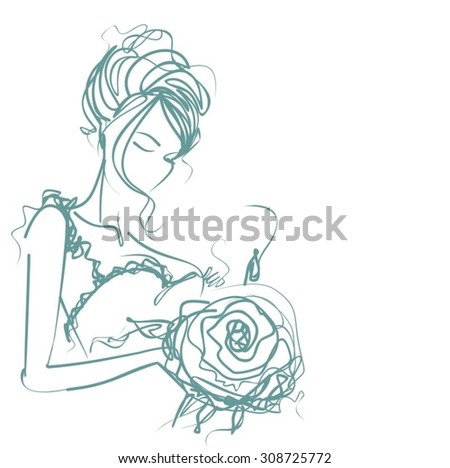 VECTOR    hand-drawn graphics with beautiful young   girl model for design. Fashion, style, youth,   beauty,  . Graphic, sketch drawing. Sexy woman.  groom, bride, fiancée, clothes,  dress.  - stock vector
