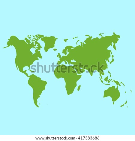 Vector hand drawn green world map, doodle illustration