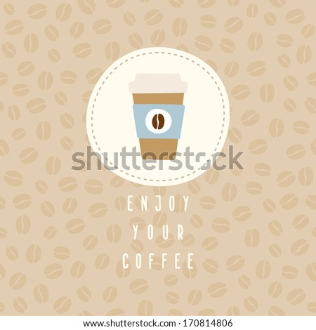 vector hand drawn greeting card template with cute coffee cup to go - stock vector