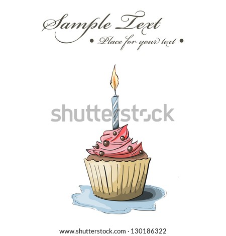 Vector hand drawn greeting card with cupcake - stock vector