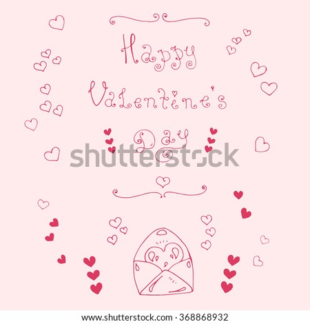 Vector hand-drawn greeting card with Valentine's Day symbols. Set  with original hand phrase Happy Valentine's Day, congratulatory envelope with a heart, ornament heart. Red lines on a pink background - stock vector