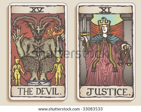 VECTOR Hand-drawn, grungy, textured Tarot cards depicting The Devil and Justice. - stock vector