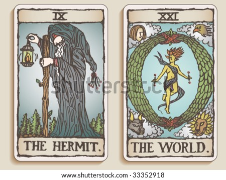 VECTOR Hand-drawn, grungy, textured Tarot cards depicting The Hermit and The World. - stock vector